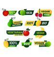 vegan labels green eco food healthy fresh vector image vector image