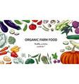 vegetables frame sketch hand drawn organic farm vector image