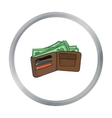 Wallet with cash icon in cartoon style isolated on vector image vector image