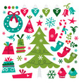 whimsical retro christmas design elements vector image vector image