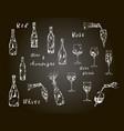 wine champagne bottle glasses drink set vector image vector image