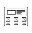wireframe in screen lined icon website page in vector image vector image