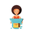 woman with laptop and envelope mail vector image vector image