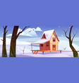 wooden house in mountains at winter vector image