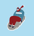 young man play sledding in snow cartoon vector image