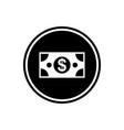 banknote dollar round glyph icon vector image vector image