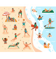 beach summer activities sand beach summertime vector image