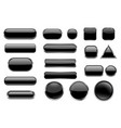 black glass buttons collection of 3d icons with vector image vector image