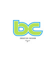 blue green alphabet letter bc b c logo icon design vector image