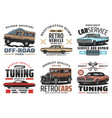 car service and tuning icons with retro vehicles vector image vector image