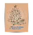 card with Christmas tree in the middle vector image vector image