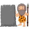 cartoon caveman holding stone sign vector image vector image