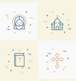 christianity thin line icons set vector image vector image