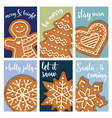 christmas card collection with gingerbread vector image vector image