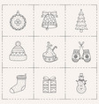 christmas icons set line art style vector image