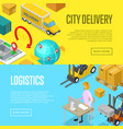 city delivery and warehouse logistics posters vector image