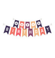 cute bunting flags with letters happy birthday vector image vector image