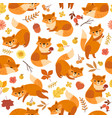 cute fox pattern orange foxes print awesome wild vector image vector image