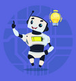cute robot happy smiling having new idea modern vector image