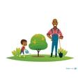 Dad and son in fruit garden boy in gumboots water vector image