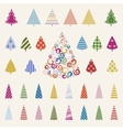 Decoration pine trees celebration set vector image