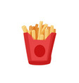 delicious french fries in a red paper box isolated vector image