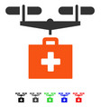 Drug drone delivery flat icon vector image