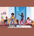 family doing housework african american father vector image