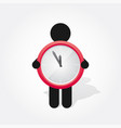 figure man holds simple red clock vector image vector image