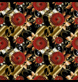 floral paisley seamless pattern black vector image vector image