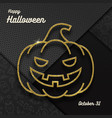 glitter gold contour a jack-o-lantern pumpkin vector image vector image