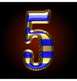golden and blue letter 5 vector image vector image