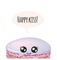 Greeting card with cute macaroon Happy kiss vector image