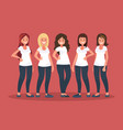 group happy women vector image