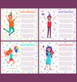 happy birthday people on party celebrating poster vector image