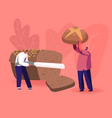 happy people eating bakery tiny man slicing huge vector image