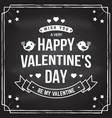 happy valentines day stamp badge card with vector image