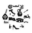 italia icons set simple style vector image vector image