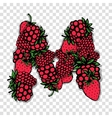 Letter M made from red berries sketch for your vector image vector image