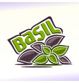 logo for basil vector image vector image