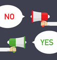 male hand holding megaphone with yes vector image vector image