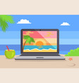 open notebook picture of tropical sunset coastline vector image vector image