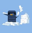 printer with scanner and paper pile office vector image vector image
