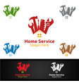 real estate and fix home repair services logo vector image vector image