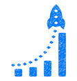 rocket business bar chart grunge icon vector image