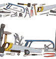 seamless horizontal borders of repair tools vector image