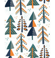seamless pattern with fir forest christmas vector image