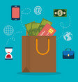 shopping bag with electronic commerce icons vector image vector image