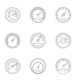 Speedometer for transport icons set outline style vector image vector image