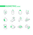 sport and fitness - line isometric icons set vector image